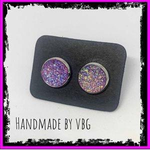 🆕 Multicolored Purple & Blue Druzy Stud Earrings